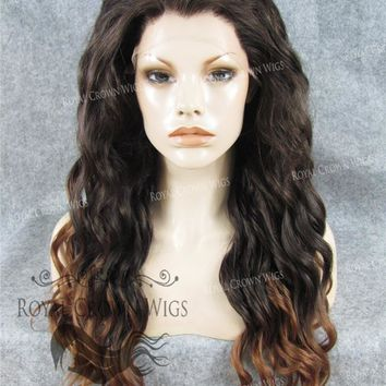 """24"""" Synthetic Lace Front with Wave Texture in Dark Brown to Light Brown Ombre"""