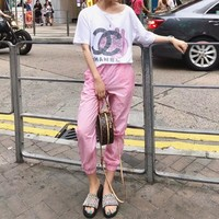 """Chanel"" Women Casual Fashion Cartoon Peppa Pig Letter Short Sleeve T-shirt Trousers Set Two-Piece Sportswear"