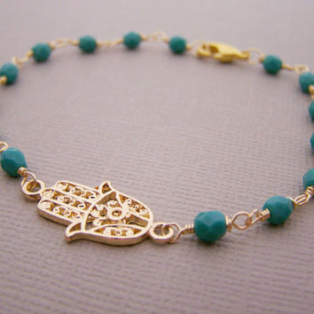 Hamsa Bracelet Turquoise Wire Wred Dainty Hand