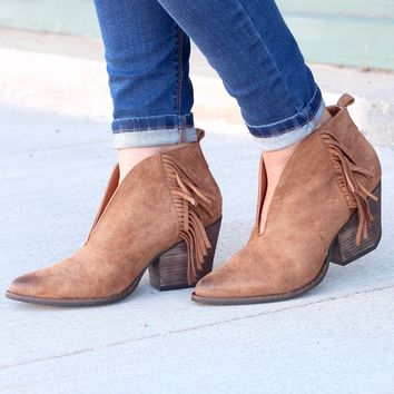Matisse: Miranda Suede Fringe Booties {Saddle Brown}