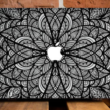 MacBook Air 13 Case MacBook Air Cover MacBook Air 11 Hard Case Mac Air 11 Cover MacBook Air Plastic Cover Mac 11 Case Black Flower Mandala
