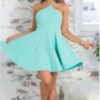 Blue Halter Neck Flare Dress