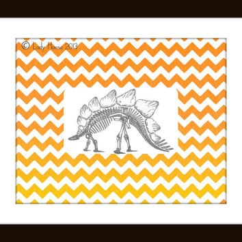 Grey and orange chevron Stegosaurus dinosaur fossil print, geometric print nursery decor, science poster, home decor wall art, kids decor