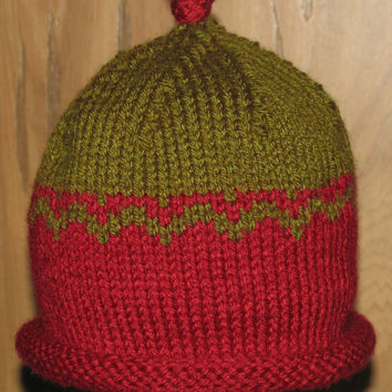 Hand Knit Two-Toned Toddler Hat with Rolled Brim - Cranberry Red and Olive Green