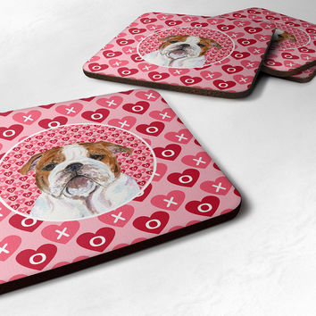 Set of 4 Bulldog English  Foam Coasters