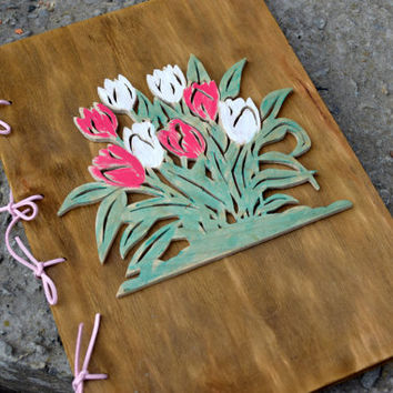 Tulips wood book,Personalized rustic journal,Guest Registry Book,Rustic wedding guestbook,Photo Album,guest book,Bridesmaid book,Flower book