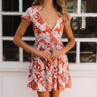 2019 new women's sexy wild dress red