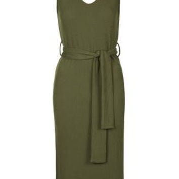 Belted Ribbed Midi Dress - Khaki
