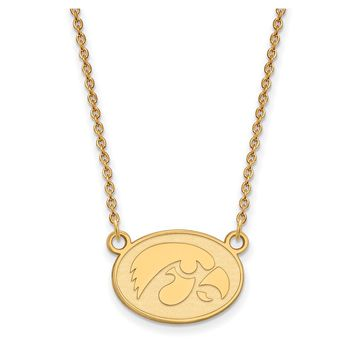 NCAA 14k Yellow Gold U of Iowa Small Hawkeye Disc Pendant Necklace