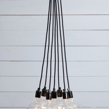 Bare Bulb Chandelier - 7 Light Cluster