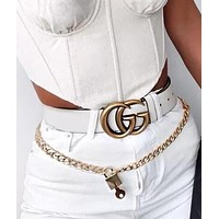 GUCCI Women Men Smooth Buckle Leather Belt