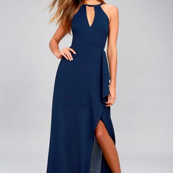 I Spy Navy Blue Maxi Dress
