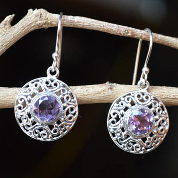 Style Sterling Silver Earrings Purple amethyst stones,Silver 925 Amethyst earrings,Everyday for women jewelry Birthstone Hook Earrings