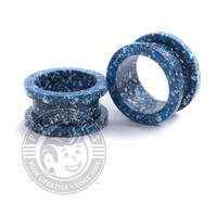 Metallic Blue & White Splatter Threaded Steel Tunnels