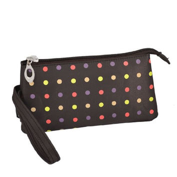 Uxcell Polka Dot 3 Compartment Wristlet Cosmetic Bag or Pouch, Brown, 0.21 Pound