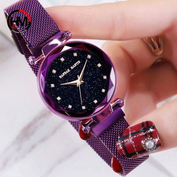 Elegant Magnetic Stainless Steel Strap Women's Bracelet Wristwatch