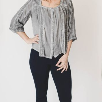 Crochet Lace Top - Gray