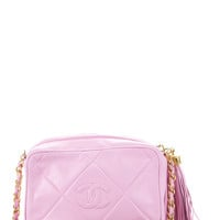 Chanel Light Pink Lambskin Large Quilted Tassel Small Camera Bag