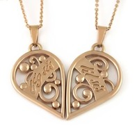 Sister Heart Necklace Big Sis Lil Sis, Sisters Pendant Necklace (2pcs),Sister gift 18 Chains Included