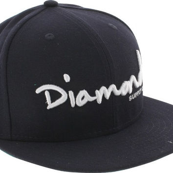 Diamond OG Script Hat 7-1/8 Navy/White Newera
