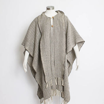 Vintage 1980s Poncho - Striped Beige Wool Fringe Scarf Collar Boho Hippie Coat 80s - OSFM