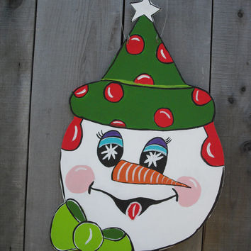 Snowman door hanger Christmas wreath Holiday door hanger Seasonal door art Yard stake Let IT Snow door hanger © Jack Jack's Wayart