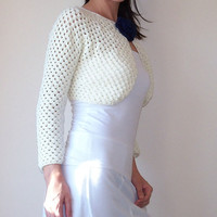 Ivory Bridal Bolero Wedding Shrug Lace Crochet Jacket