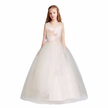 6-16 year Kids Girls Wedding Party Vestidos Long Girl Dress Elegant Princess Party Pageant Formal Dress Sleeveless Child Clothes