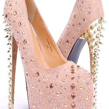 NUDE FAUX SUEDE MULTICOLOR GEMSTONE STUD ACCENT SPIKED HIGH HEEL PUMPS