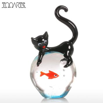 Tooarts Modern Cat and Goldfish Figurine Gift Glass Home Decor Animal Mini Statuettes Multicolor Home Decoration Accessories