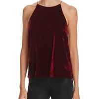 AQUA Velvet High Neck Top | Bloomingdales's