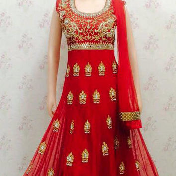 Red Anarkali Suit With Georgette and Net