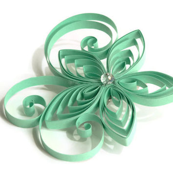 Mint Bridal Hair Accessory, Seafoam Wedding Hair Piece, Pastel Green Flower Hair Clip