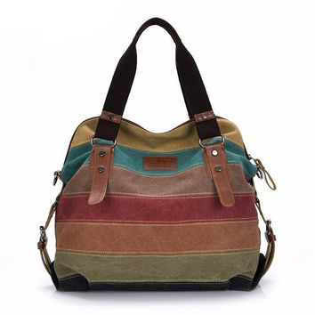 Multicolored Stitching Canvas Striped Casual Tote Shoulder Bag