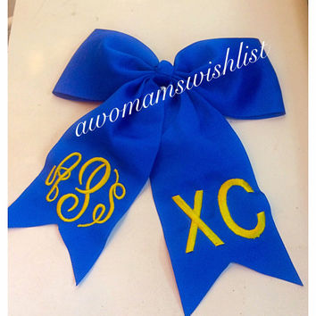 Monogrammed Cheer Hair Bows/ with Pony Tail Holder