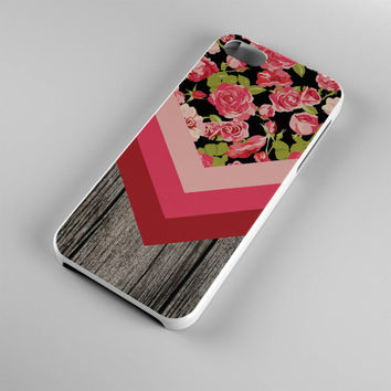 DS278-iPhone Case - Iphone 5 case-Iphone 5s case - Iphone 4 case - Iphone 4s case - Iphone Cover - Vintage Roses Wood Flowers iPhone Case