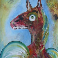Folk Art Horse - Weird Horse Face - Surreal Horse - Weird Horse Art - Freaky Horse Painting - Art Brut - Whimsical Horse - Horse Painting