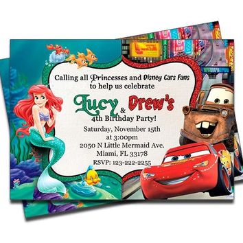 Little Mermaid and Disney Cars - Double Birthday Invitations