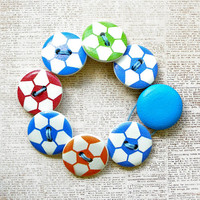 Colorful Soccer Wooden Button Bracelet - Small