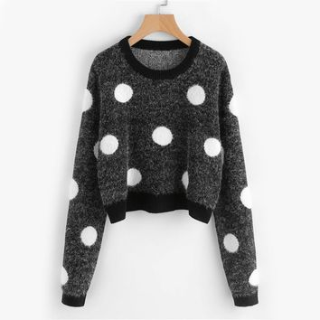 Polka Dot Fluffy Jumper Fall Loose Casual Sweaters and Pullovers