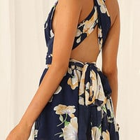Multicolor Floral Cross Back Tie Waist Romper