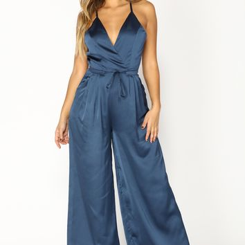 Cool Club Satin Jumpsuit - Navy