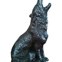 Howling Wolf, Pewter Colored Ceramic Cone Incense Burner