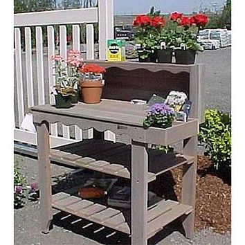 Red Finish Cedar Wood Potting Bench Garden Storage Outdoor Bakers Rack Table