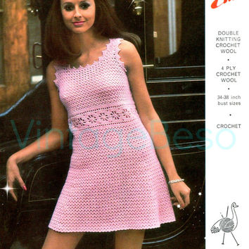 1960s Party Dress Emu 2810 Instant Download-Vintage Crochet Pattern-Lacy Chic Fun Floral Motif Trim Mini Dress with Picot Edging 4 ply & DK