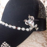 Black Rhinestone Embellished Trucker Baseball Hat Cap With Frog