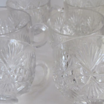 Set of 6 Cut Crystal Cups Crystal Punch Bowl Cups Crystal Glassware