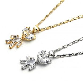 Gold Layered Fancy Necklace, Teddy Bear Design, with Cubic Zirconia, Golden Tone