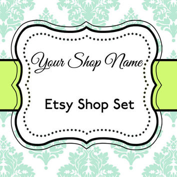 Etsy Banner and Avatar Set for Your Store--Lime and Turquoise