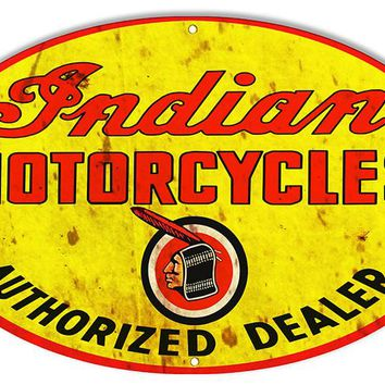 Distressed Authorized Indian Motorcycle Reproduction Sign 15″x24″ Oval